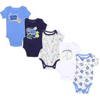 Calvin Klein Newborn Boys Printed Bodysuits Set in Blue/ White (Pack of 5)