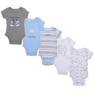 Calvin Klein Newborn Boys Bodysuit Set in Light Blue/White