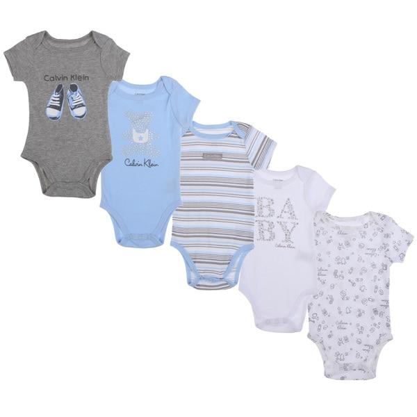 Calvin Klein Newborn Boys Bodysuit Set in Light Blue/White