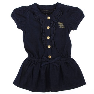 Calvin Klein Toddler Girls Navy Blue Button Front Dress