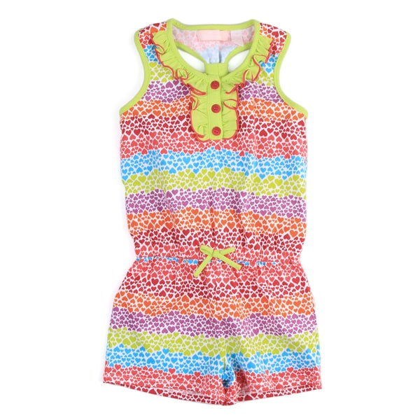 KHQ Girl's Multi-color Heart Stripe Romper