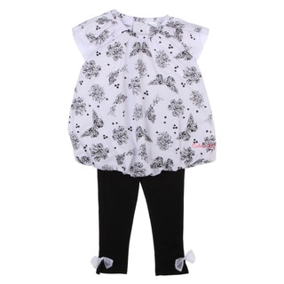 Calvin Klein Toddler Girls Printed Top and Pants Set in White/ Black