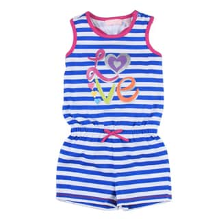 Toddler Girl's Navy Blue Stripe Romper