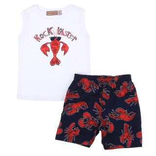 Toddler Boys White Lobster Shirt/ Navy Lobster Print Short Set