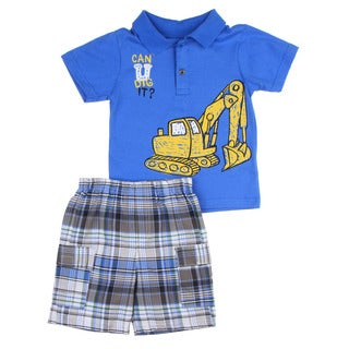 KHQ Toddler Boys Blue Polo Top with Plaid Short Set