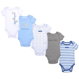 Calvin Klein Newborn Boys Printed Bodysuit Set in Light Blue/White
