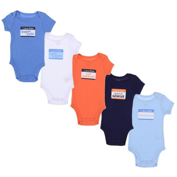 Calvin Klein Newborn Boys Bodysuits Set in Light Blue/ White/ Orange/ Navy (Set of 5)