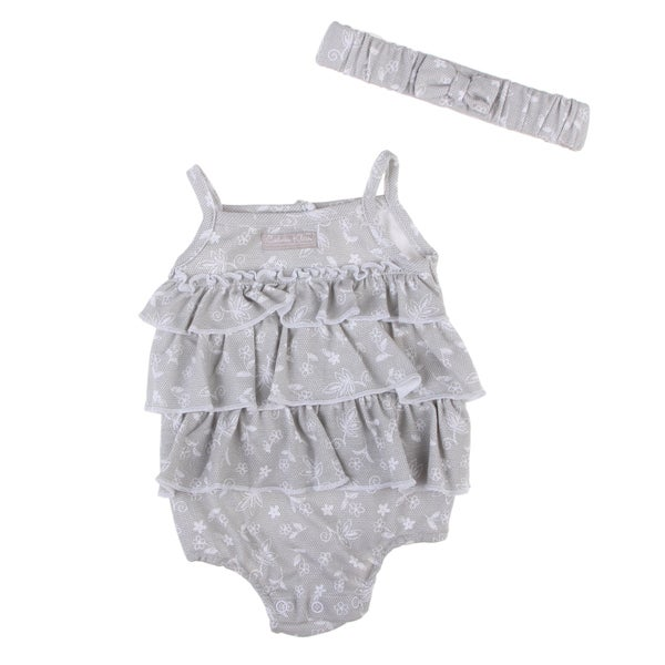 Calvin Klein Newborn Girls Ruffle Dress in Grey/ White