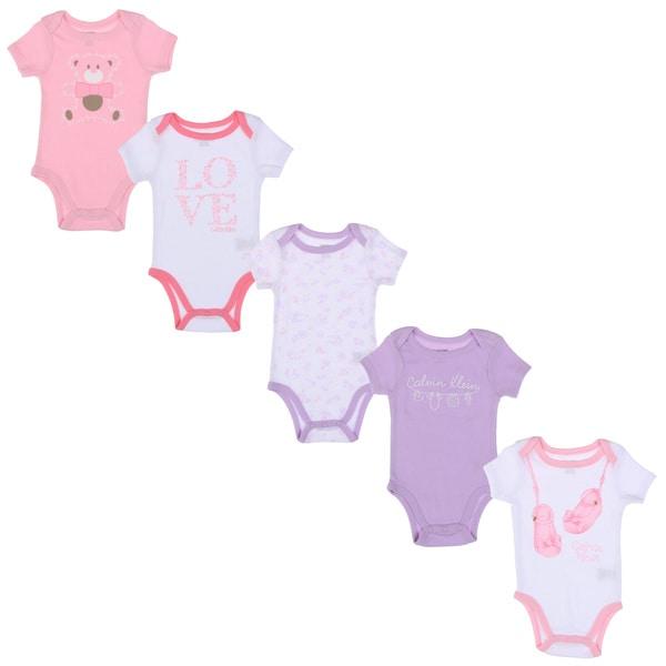 Calvin Klein Newborn Girls Printed Bodysuits Set in Pink/ White/ Purple (Set of 5)