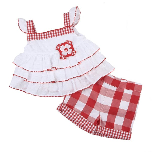 KHQ Toddler Girl's White Ruffle Top with Red Check Shorts Set
