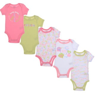 Calvin Klein Newborn Girls Printed Bodysuit Set in Pink/Green/White