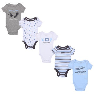 Calvin Klein Newborn Boys Printed Bodysuits Set in Blue/ White (Set of 5)