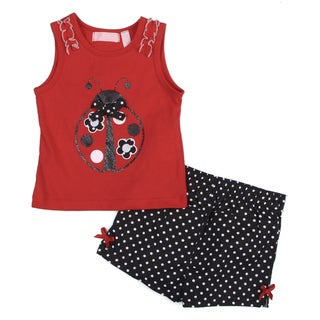 Toddler Girl's Red Ladybug Top and Polka Dot Short Set