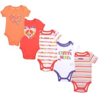 Calvin Klein Newborn Girls Printed Bodysuit Set in Orange/ White