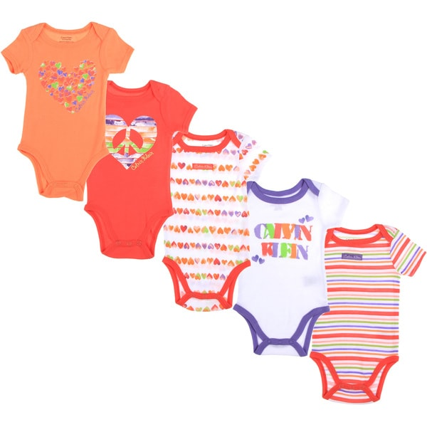 Calvin Klein Newborn Girls Printed Bodysuit Set in Orange/ White