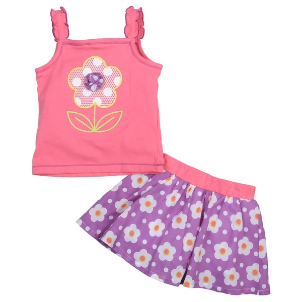 Toddler Girl's Pink Top with Pink Flower Shorts Set