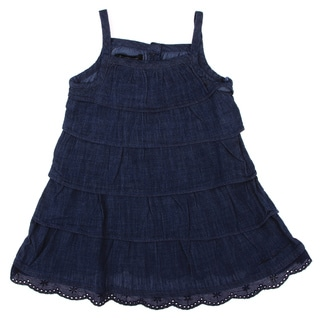 Calvin Klein Toddler Girls Ruffle Tiered Dress in Navy Blue