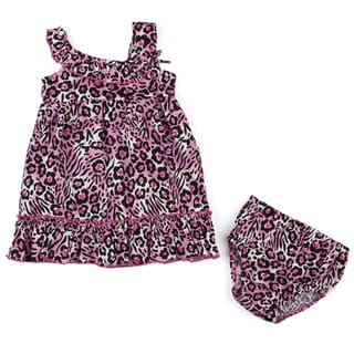 Lilybird Infant Girl's Pink Cheetah Dress and Bloomer Set