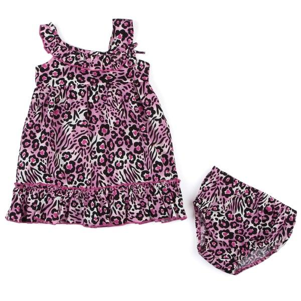 Lilybird Infant Girl's Pink Cheetah Dress and Bloomer Set