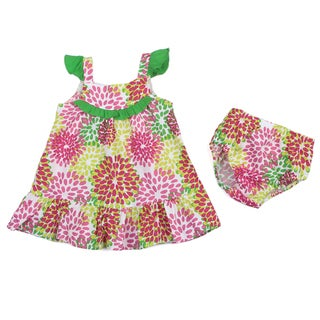 Lilybird Infant Girl's Pink Flower Dress and Bloomer Set