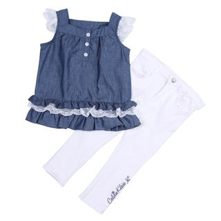 Calvin Klein Toddler Girl's Blue Ruffle Top with White Pants Set