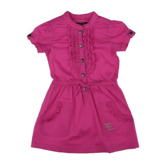 Calvin Klein Toddler Girls Button Front Dress in Hot Pink
