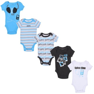 Calvin Klein Newborn Boys Printed Bodysuits Set in Blue/ White/ Black (Set of 5)