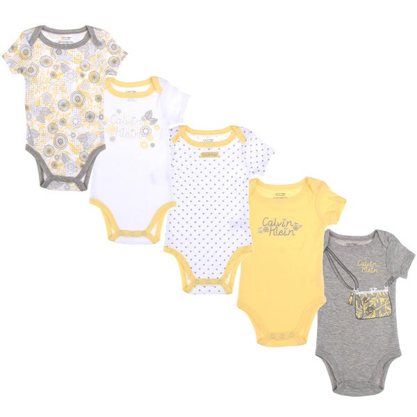 Calvin Klein Newborn Girls Printed Bodysuit Set in Yellow/White