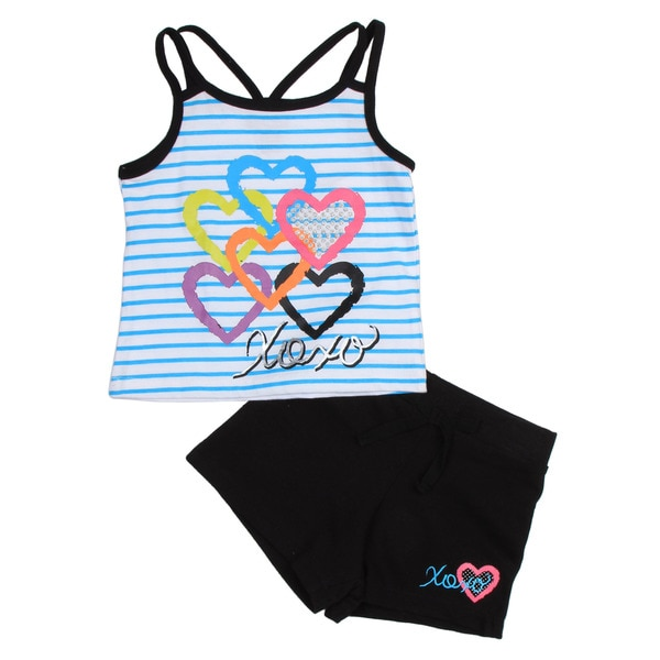 XOXO Girl's Toddler Stripe Heart Shirt with Black Shorts Set