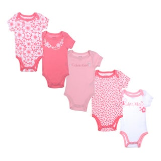 Calvin Klein Newborn Girls Bodysuit Set in Pink/White