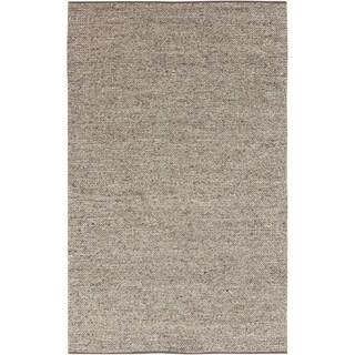 Hand-woven Eagan Casual Solid Beige Wool Rug (8' x 11')