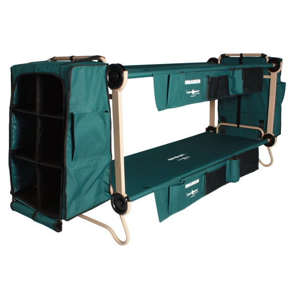 Disc-O-Bed Cam-O-Bunk Large Green Bunk Bed with Leg Extensions and Cabinets