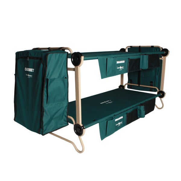 Disc-O-Bed Cam-O-Bunk XL Green Bunk Bed with Leg Extensions and Cabinets