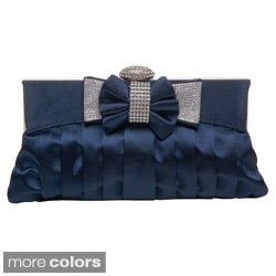 Women's Pleated Satin Rhinestone Bow Clutch