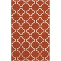 Hand-tufted Otsego Orange Geometric Trellis Wool Rug (2' x 3')