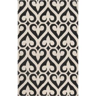 Jill Rosenwald Hand-tufted Kasson Black Geometric Fleur D Lis Wool Rug (9' x 13')
