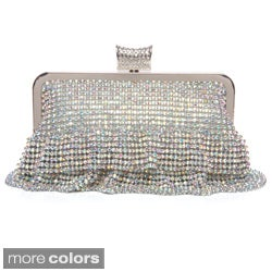 Women's Crystal Embellished Ruffled Evening Bag