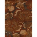 Hand-tufted Millings Brown Floral Wool Rug (10' x 14')
