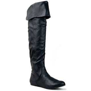 Qupid Women&#39;s Black Over-the-knee Slouchy Flat Boots