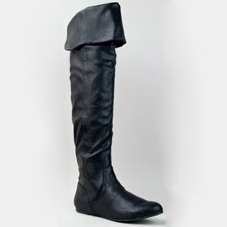 Qupid Women's Black Over-the-knee Slouchy Flat Boots