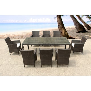 Italy 220 Wicker Patio Table and Chairs Outdoor Dining Set for 8 by Beliani