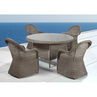 Naples Outdoor Wicker Patio Table and Chair Dining Set by Beliani