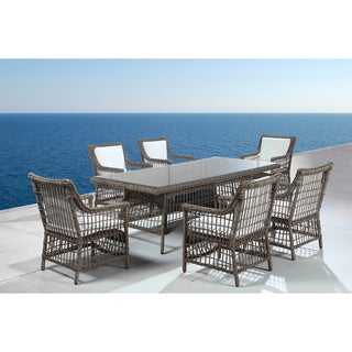 Pescara Rattan Wicker Patio Table and Chair Outdoor Dining Set ...