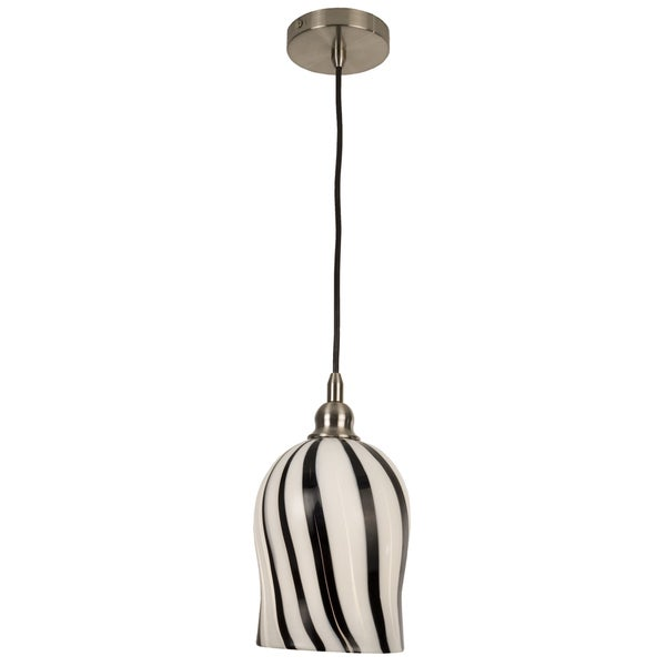 Lightstyles Coffee Stripe Art Glass Pendant