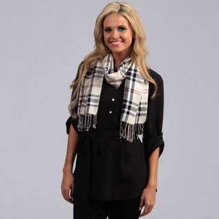 Peach Couture Tan Woven Plaid Scarf