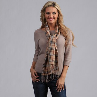 Peach Couture Woven Camel Plaid Scarf