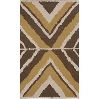 Beth Lacefield Hand-woven Addo Reversible Dark Taupe Wool Rug (8' x 11')