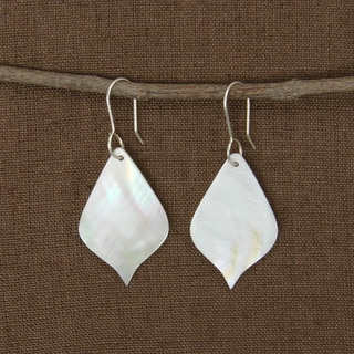 Handcrafted Moonlit Leaf Mother of Pearl Shell Earrings (Indonesia)