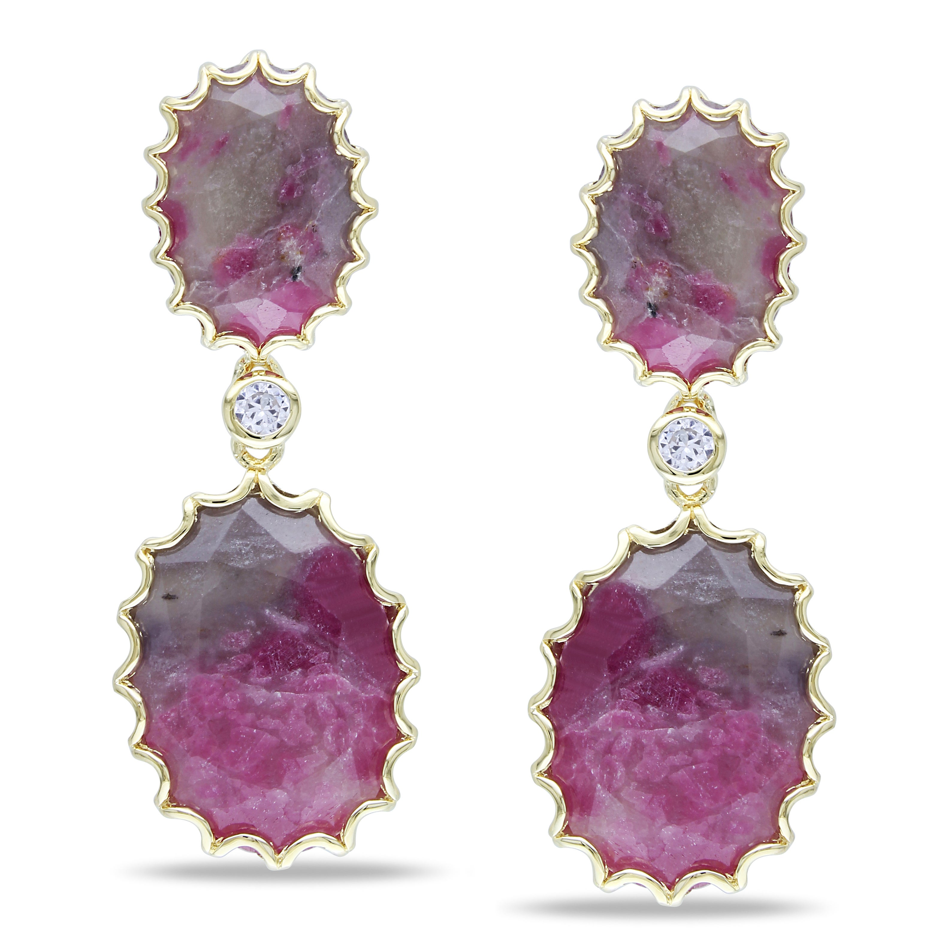 Miadora Yellow Plated Silver and Gemstone Earrings