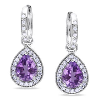 Miadora 14k White Gold Amethyst and 1/2ct TDW Diamond Earrings (G-H, I1-I2)